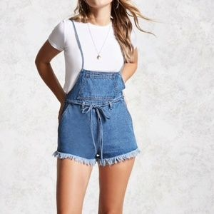 Forever 21 Contemporary Overall Denim Shorts  L